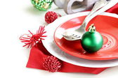 Festive Christmas table setting with decorations — Stock Photo