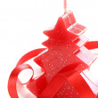 Red Christmas candle in the form of a Christmas tree — Stock Photo