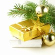 Christmas composition -  gifts and fir tree  branches — Stock Photo