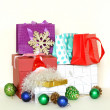 Many gift boxes and colorful shopping bags on white background — Stok fotoğraf #33771315