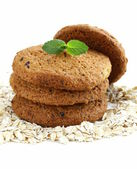 Pile of round oatmeal cookies — Stock Photo