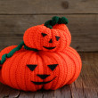 Two funny Halloween orange pumpkin Jack O'Lantern — Stock Photo