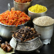 Stock Photo: Collection of various spices (paprika, turmeric, pepper, aniseed, cinnamon, saffron)