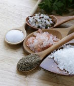 Different types of salt — Stock Photo