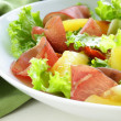 Fresh green snack salad with ham and vegetables — Stock Photo