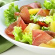 Stock Photo: Fresh green snack salad with ham and vegetables