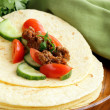 Fresh tortilla fajita wraps with beef and vegetables, Mexican food — Stock Photo