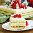 Stock Photo: Sponge cake with white chocolate, decorated with red currant