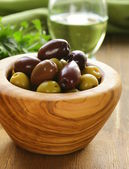 Marinated green and black olives — Stock Photo