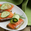 Sandwich with red fish (salmon) and cucumber — Stock Photo