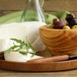 Stock Photo: Salted milk cheese (feta) and marinated black olives
