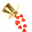 Red hearts on a white background - Valentine's Day celebration concept — Stock Photo
