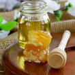 Natural organic honey in the comb and glass jar — Stock Photo #35536077