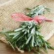 Stock Photo: Organic bunch of fresh rosemary on the wooden table