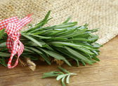 Organic bunch of fresh rosemary on the wooden table — Stock Photo