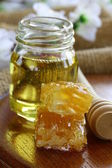 Natural organic honey in the comb — Stock Photo