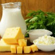Still life of dairy products (milk, sour cream, cheese, cottage cheese) — Stok fotoğraf