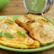 Fresh egg omelet with basil  — Stock Photo