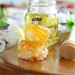 Honey bee on a honeycomb — 图库照片