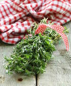 Bunch of fresh green thyme — Stock Photo