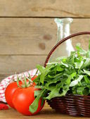 Large bunch of arugula green salad — Stock Photo