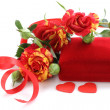 Bouquet of  roses and gift box for holiday greeting card — Stock fotografie