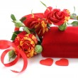 Bouquet of roses and gift box for holiday greeting card — Stock fotografie #36795093