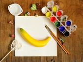 Painting set - brushes, paints (gouache) — Stock Photo