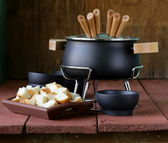 Special set of utensils for cooking fondue (cheese, chocolate) — Stock Photo