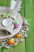 Easter table setting in a rustic vintage style — Photo