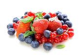 Various berries - strawberry, currant, blueberry on white background — Stock Photo