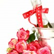 Romantic still life champagne, roses, gifts, chocolate — Photo