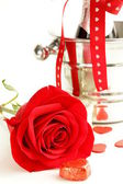 Romantic still life champagne, roses, gifts, chocolate — Stockfoto