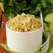 Stock Photo: Salad of sprouted mung beans in white bowl