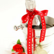 Romantic still life champagne, roses, gifts, chocolate — 图库照片 #39866051