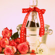 Romantic still life champagne, roses, gifts, chocolate (toned in retro style) — Stok fotoğraf #40032017