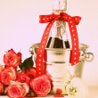 Romantic still life champagne, roses, gifts, chocolate (toned in retro style) — Photo