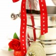 Romantic still life champagne, roses, gifts, chocolate — Foto Stock