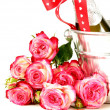 Romantic still life champagne, roses, gifts, chocolate — Foto Stock #40169061