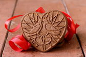 Chocolate cookies in the shape of heart, symbol of love — Foto de Stock