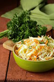 Traditional coleslaw (cabbage salad, carrot and mayonnaise) — Stock Photo
