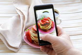 Smartphone shot food photo  - pancakes for breakfast with fresh strawberries — Stock Photo