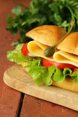 Fresh sandwich with vegetables, green salad and cheese — Stock Photo