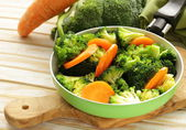 Mixed vegetables with carrots and broccoli tasty garnish — Stock Photo