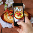 Smartphone shot food photo - vanilla cake with strawberries — Stock Photo