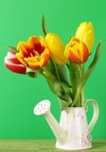 Bouquet spring beautiful multicolored tulips flowers — Stock Photo