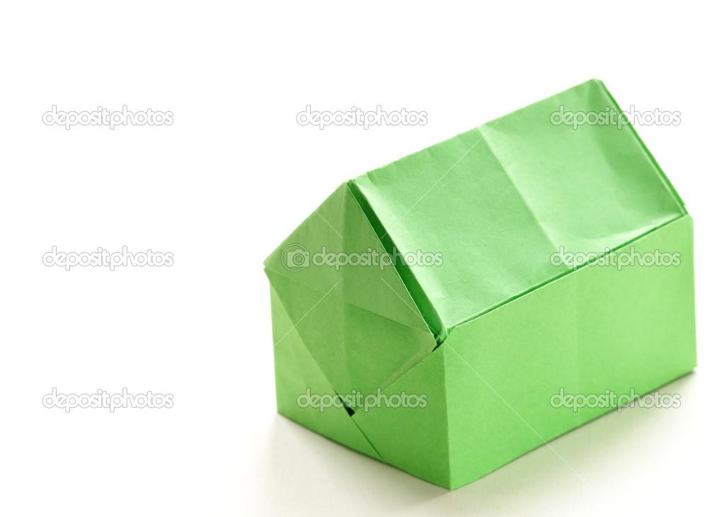 maison de papier origami color sur fond blanc photo. Black Bedroom Furniture Sets. Home Design Ideas