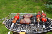 Cooking on the barbecue grill assortment sausages steak and skewers — ストック写真