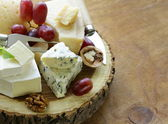 Cheeseboard with assorted cheeses (parmesan, brie, blue, cheddar) — Stock Photo