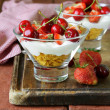 Dairy yogurt dessert with cherries and strawberries — Stock Photo #47092801